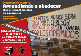"""[29Feb] Presentación de """"Aprendiendo a obedecer. Crítica del sistema de enseñanza"""" en Toledo"""